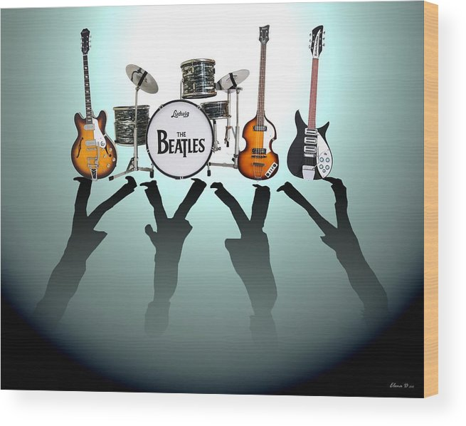 The Beatles Wood Print featuring the digital art The Beatles by Yelena Day
