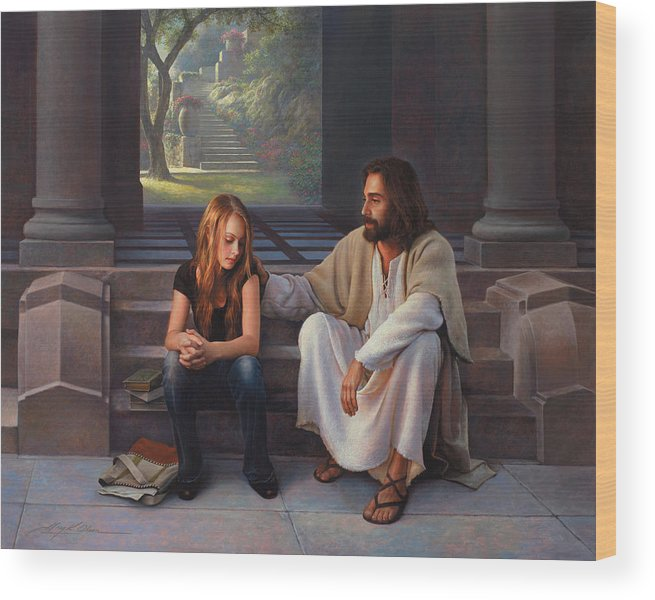 Jesus Wood Print featuring the painting The Master's Touch by Greg Olsen
