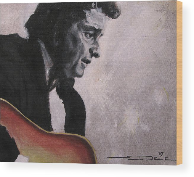 Johnny Cash Wood Print featuring the painting The Ring of Fire by Eric Dee