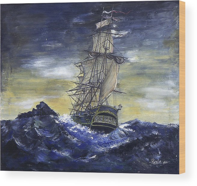 Seascape Wood Print featuring the painting The Ship by Jim Reale