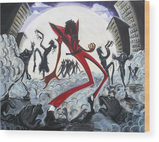 Thriller Wood Print featuring the painting The Thriller V2 by Tu-Kwon Thomas