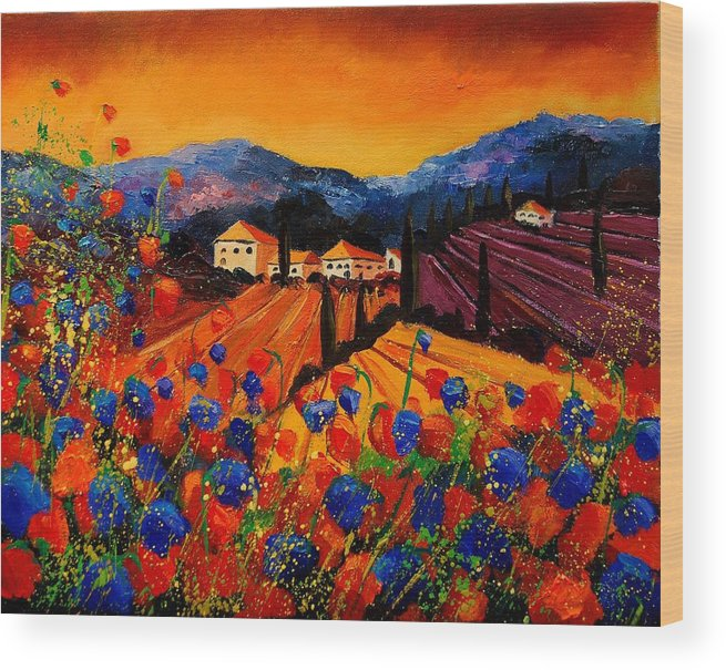 Poppies Wood Print featuring the painting Tuscany Poppies by Pol Ledent