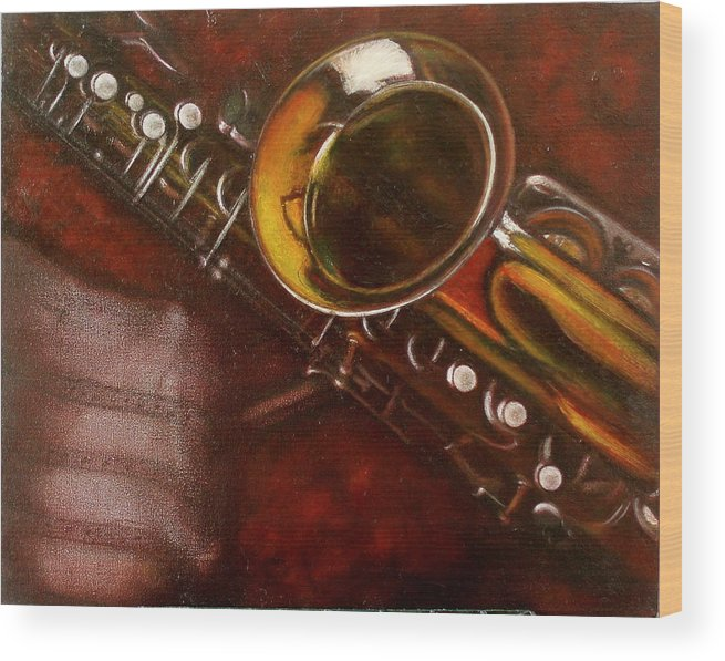Oil Painting On Canvas Wood Print featuring the painting Unprotected Sax by Sean Connolly