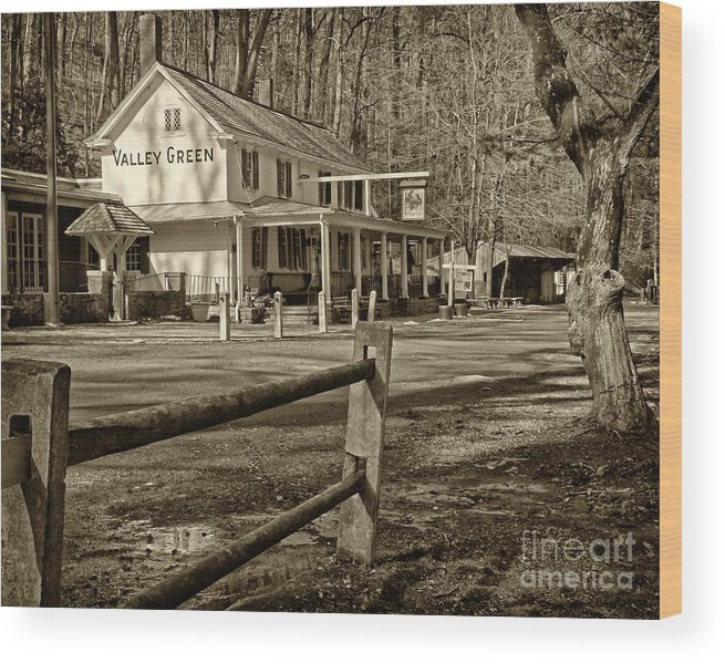 Valley Green Inn Wood Print featuring the photograph Valley Green Inn 2 by Jack Paolini