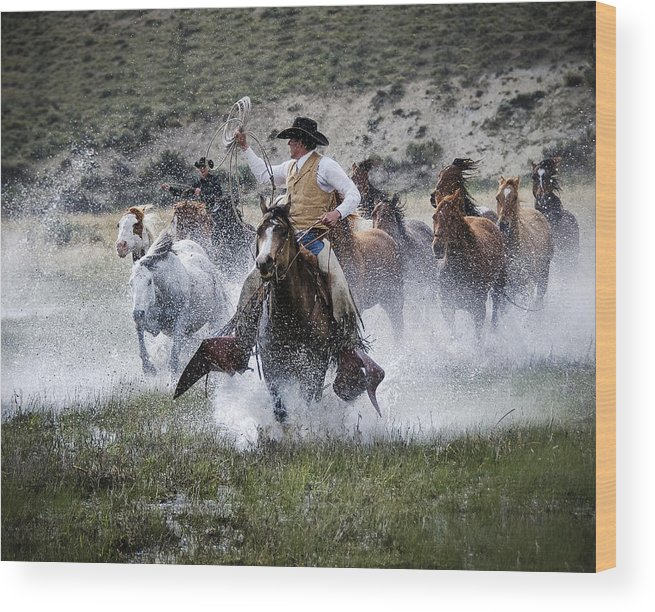 Sombrero Ranch Wood Print featuring the photograph Water Wranglers by Pamela Steege