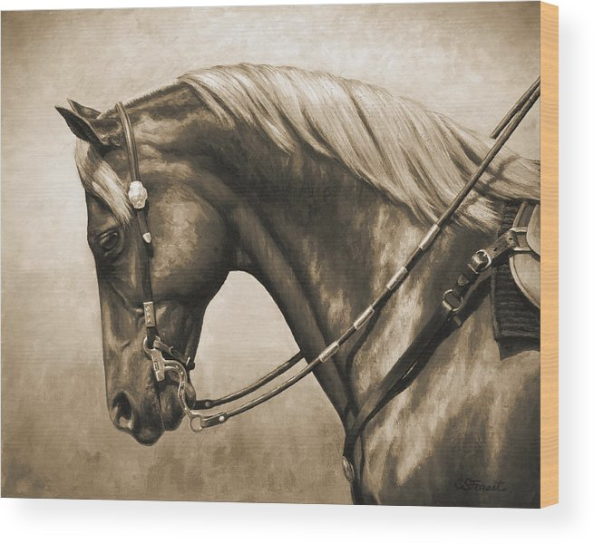 Horse Wood Print featuring the painting Western Horse Painting In Sepia by Crista Forest