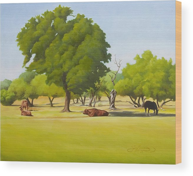 Texas Landscape Wood Print featuring the painting Wimberley Pastoral by Gary Hernandez