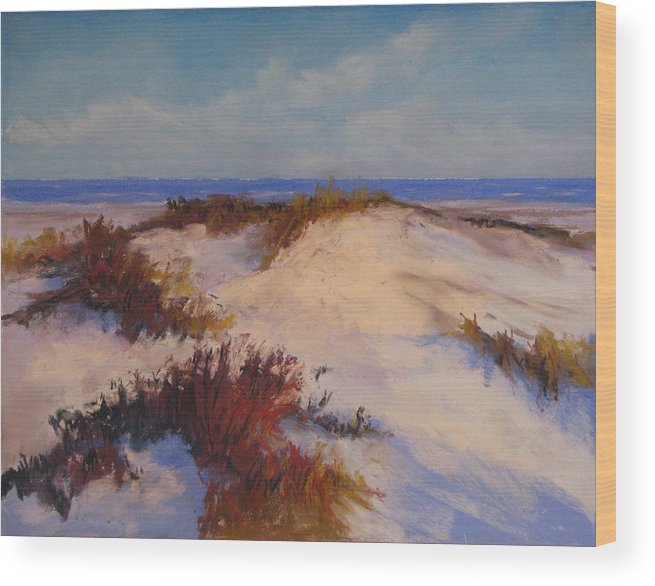 Beach Wood Print featuring the painting Wind Blown by Cecelia Campbell