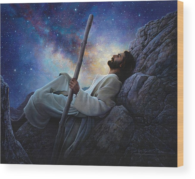 Jesus Wood Print featuring the painting Worlds Without End by Greg Olsen