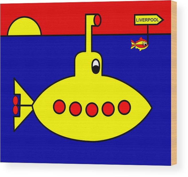Yellow Submarine Heading For Liverpool Wood Print featuring the digital art Yellow Submarine Heading for LIVERPOOL by Asbjorn Lonvig