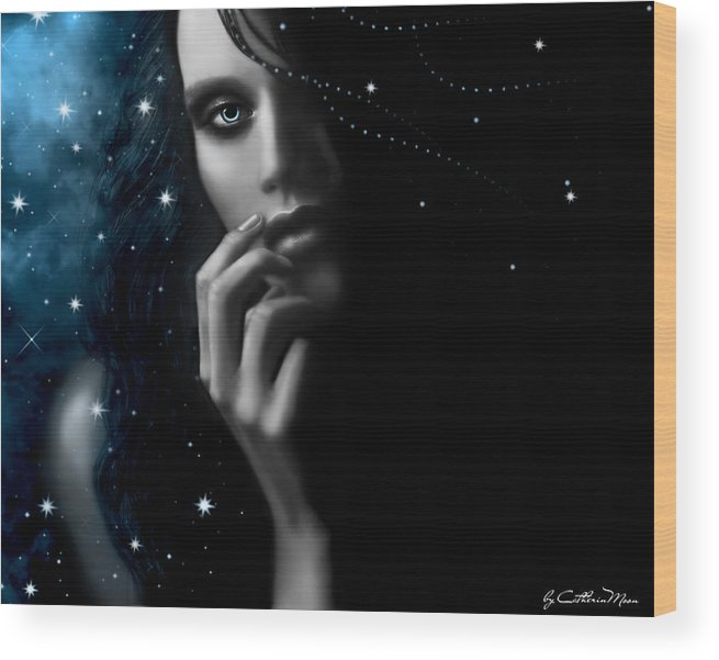 Stars Wood Print featuring the digital art Mystery by Catherin Moon