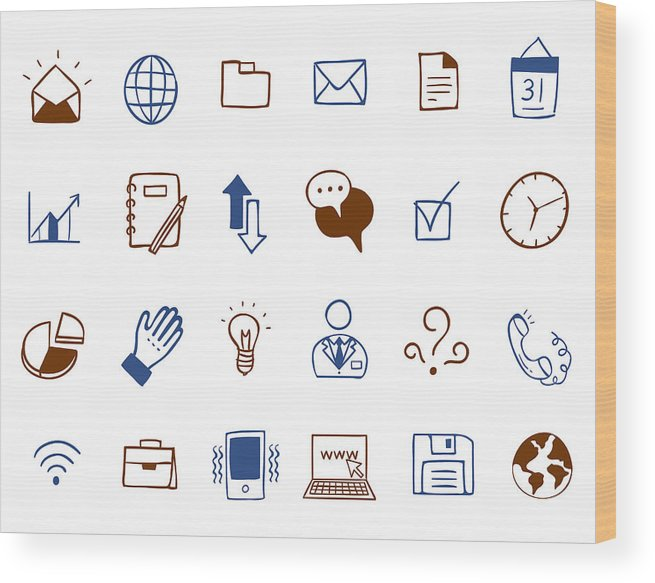 Horizontal Wood Print featuring the digital art Business Icon Set by Eastnine Inc.