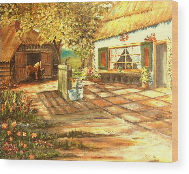 Landscape Wood Print featuring the painting Farm House and Barn by Kenneth LePoidevin