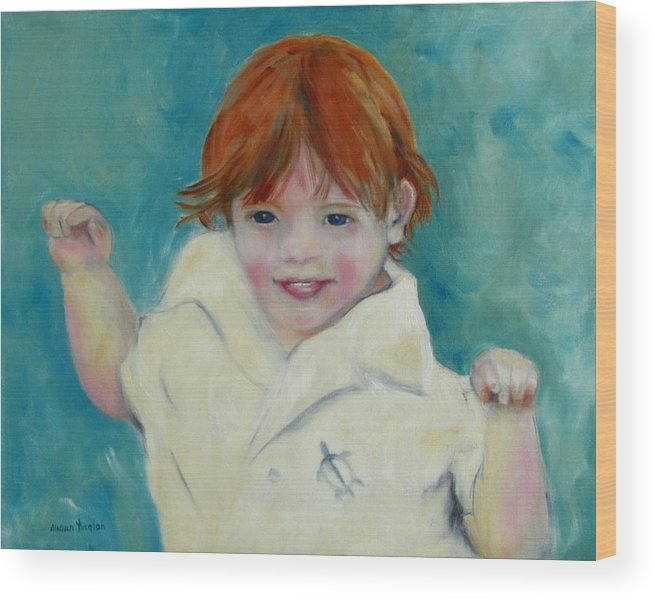 Child Wood Print featuring the painting Laughter by Susan Hanlon