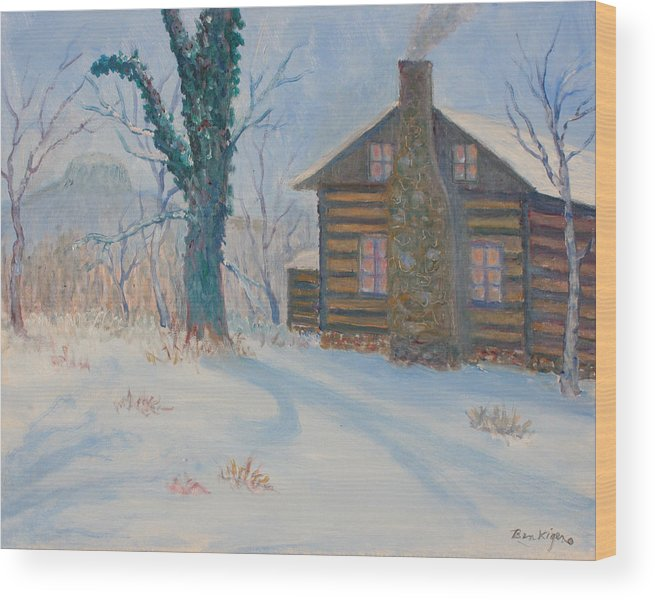 Pilot Mountain Wood Print featuring the painting Pilot Mountain Lodge by Ben Kiger