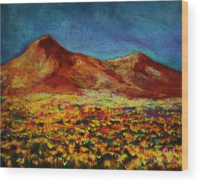 Trans Mountain Wood Print featuring the painting Poppies by Melinda Etzold