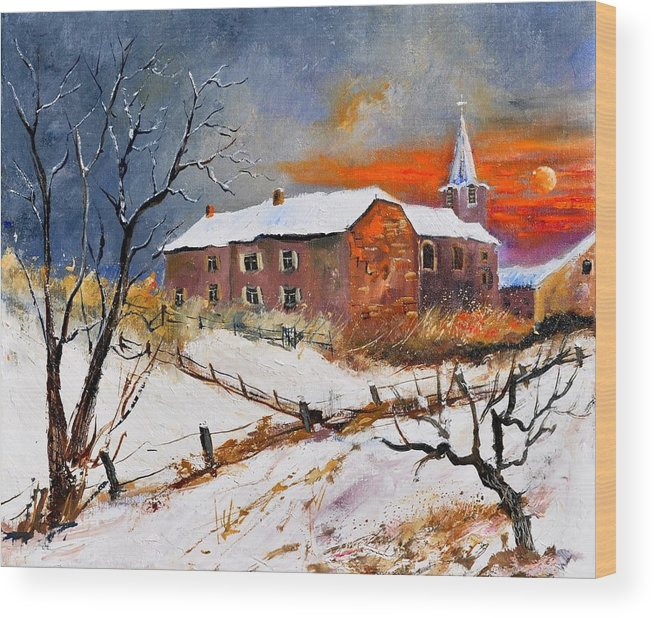Landscape Wood Print featuring the painting Snow In Houyet by Pol Ledent