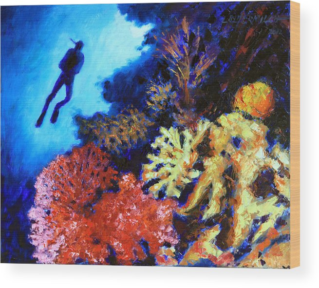 Ocean Wood Print featuring the painting Suspended Amongst Natures Beauty by John Lautermilch