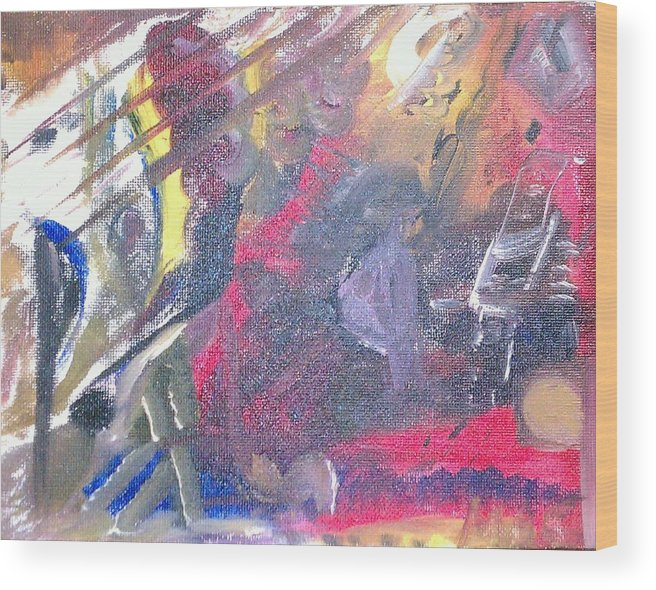 Abstract Wood Print featuring the painting The Grand Musician by Mae Hermansen