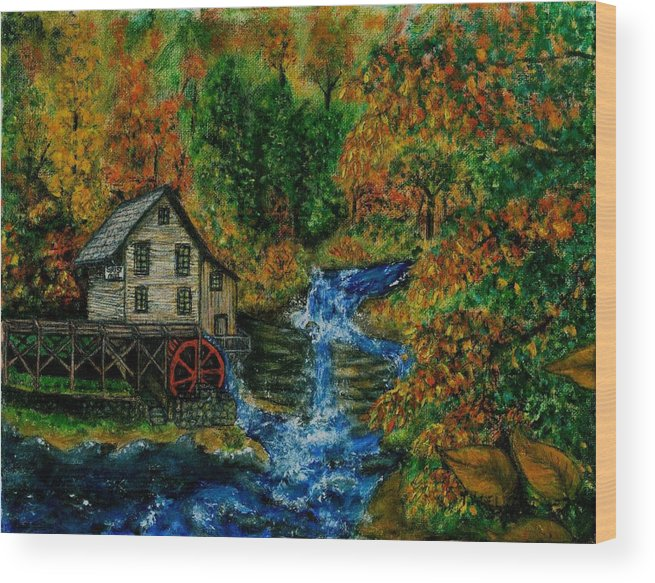 Mill Wood Print featuring the painting The Grist Mill in Autumn by Tanna Lee M Wells