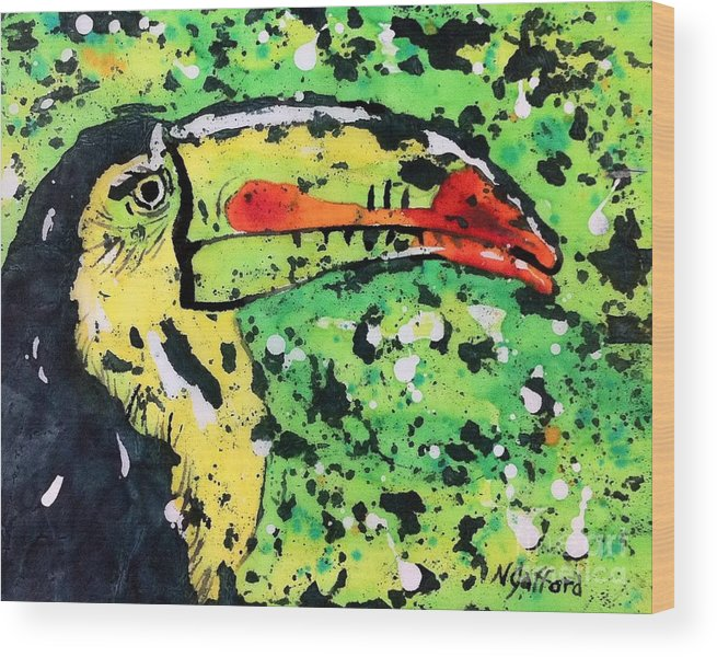 Nature Wood Print featuring the painting Toucan by Norma Gafford