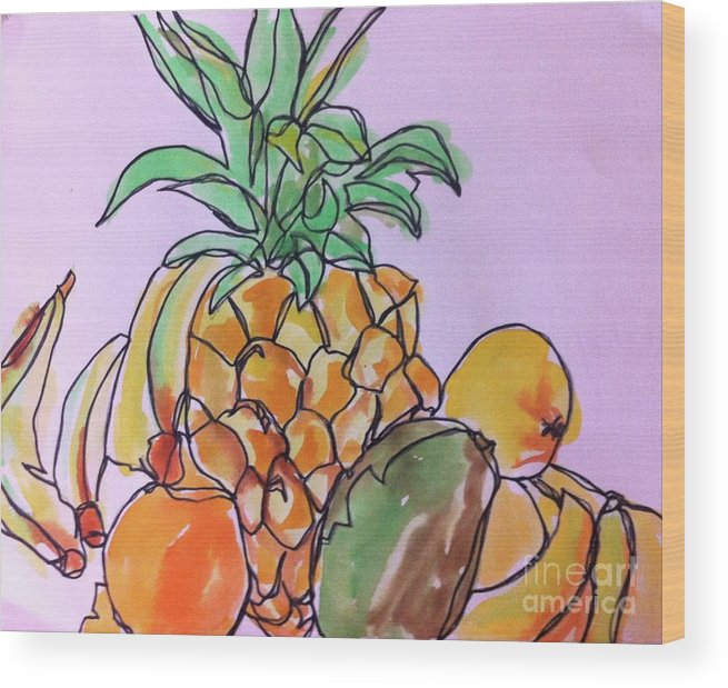 Art Wood Print featuring the painting Tropical Snack by Norma Gafford