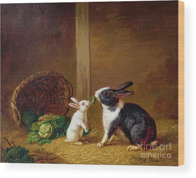 Two Wood Print featuring the painting Two Rabbits by H Baert