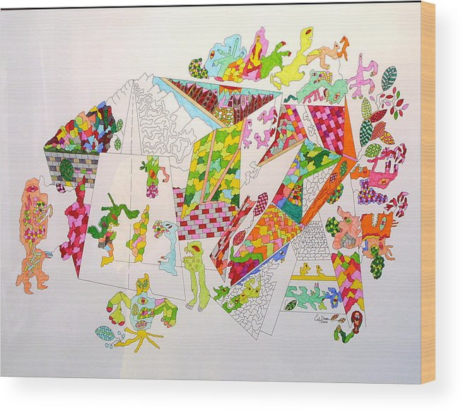 Park Wood Print featuring the drawing Central Park 2099 by Eric Devan