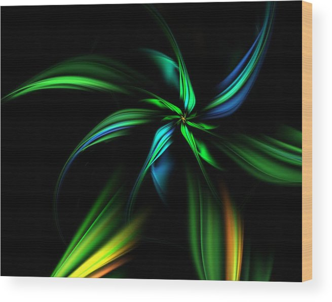 Fantasy Wood Print featuring the digital art Fantasy Flower by David Lane