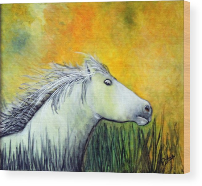 Wood Print featuring the painting Merlin by Pilar Martinez-Byrne