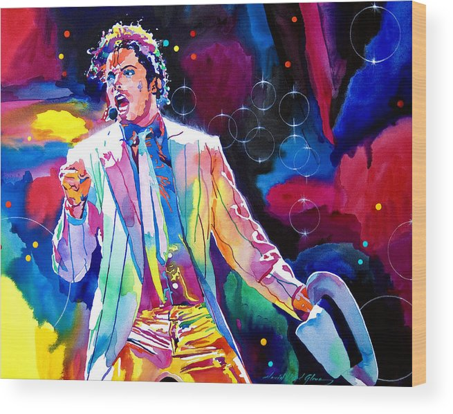 Michael Jackson Wood Print featuring the painting Michael Jackson Smooth Criminal by David Lloyd Glover