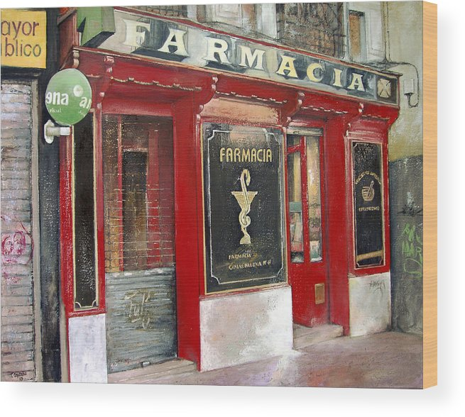 Farmacia Wood Print featuring the painting Old Pharmacy by Tomas Castano