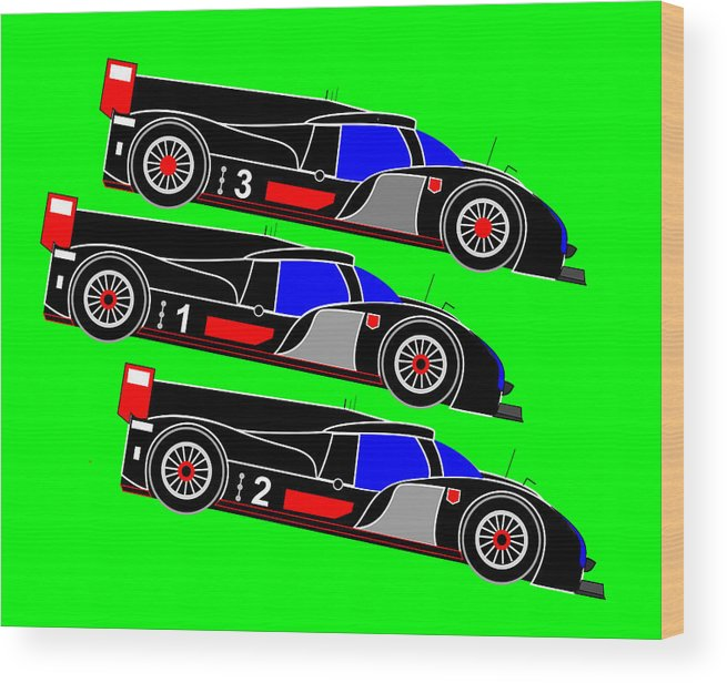 Audi Wood Print featuring the digital art To Audi R18s Le Mans 2011 was Downhill by Asbjorn Lonvig