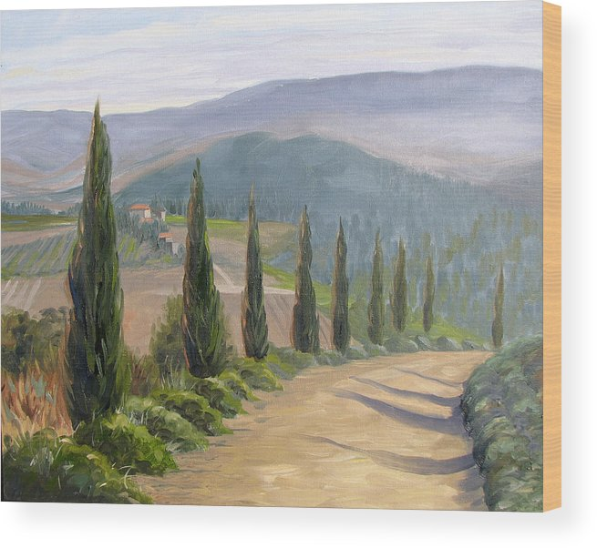 Landscape Wood Print featuring the painting Tuscany Road by Jay Johnson