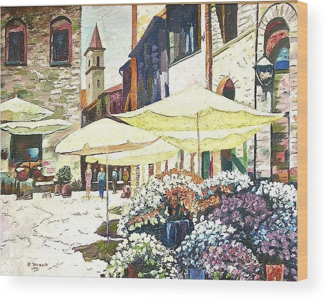 Citiscape Painting Wood Print featuring the painting Italian Piazza by Nicholas Minniti