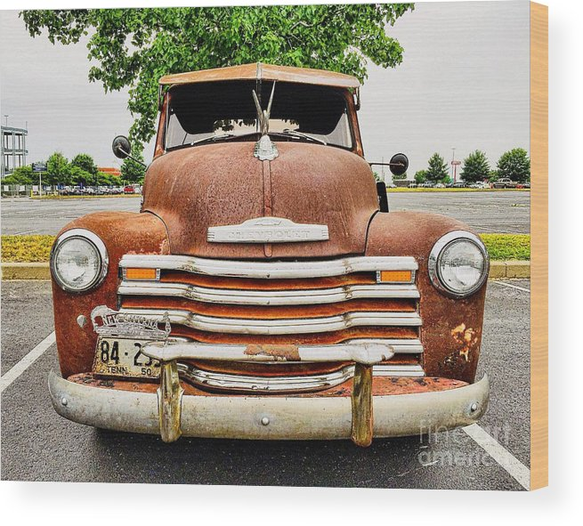 Classic Wood Print featuring the photograph 1950 Tn Chevy Pick Up by Sue M Marshall