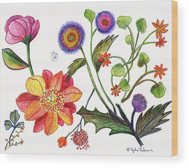 Flowers Nature Botany Drawing Julie Richman Flora Pencil Wood Print featuring the painting Botanical Flower-45 odd flowers by Julie Richman