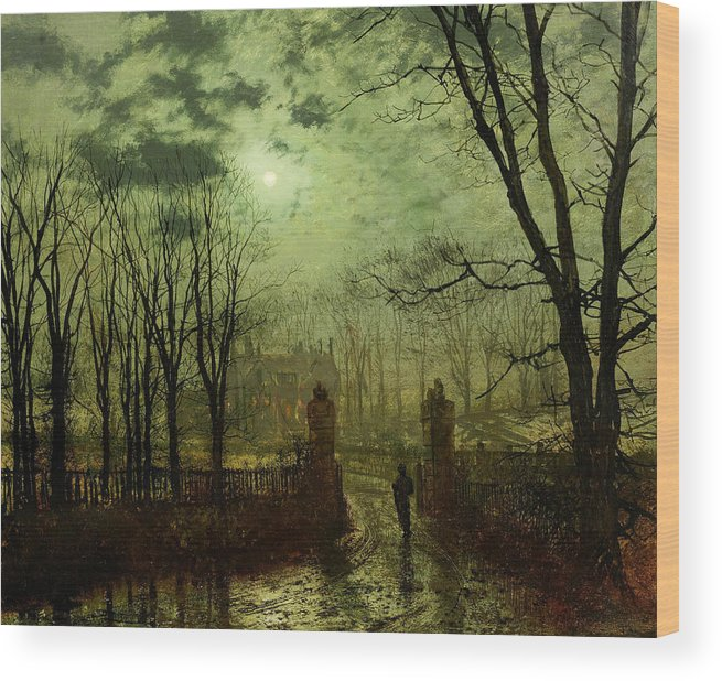 Grimshaw Wood Print featuring the painting At The Park Gate by John Atkinson Grimshaw