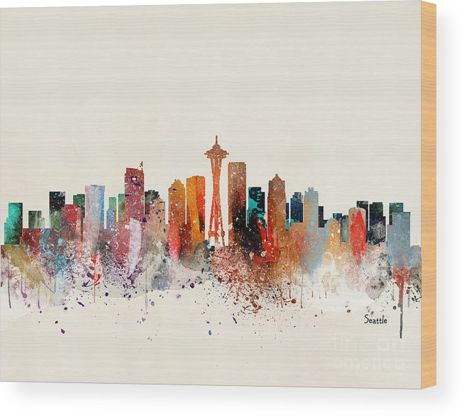 Seattle Cityscape Wood Print featuring the painting Seattle Skyline by Bri Buckley