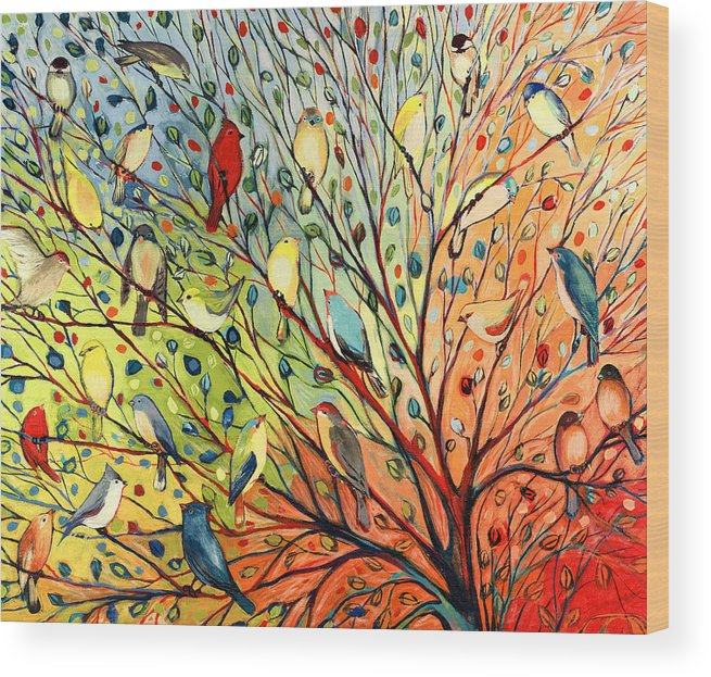 Bird Wood Print featuring the painting 27 Birds by Jennifer Lommers
