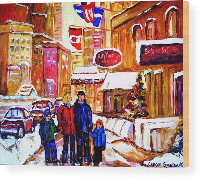 Montreal Wood Print featuring the painting Montreal Street In Winter by Carole Spandau