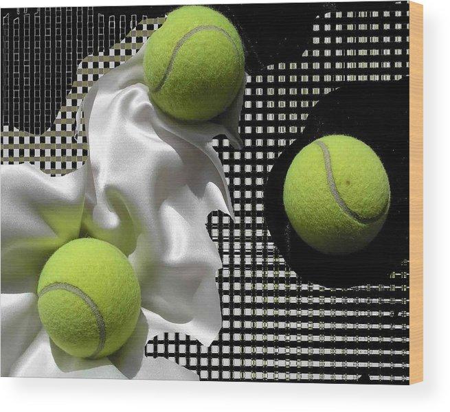 Tennis Wood Print featuring the photograph 3 Tennis Balls by Evguenia Men