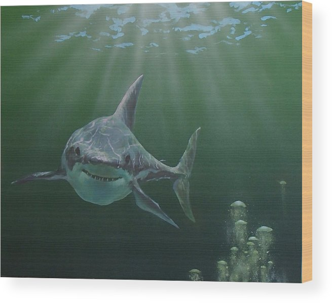 Shark Wood Print featuring the painting Untitled 3 by Philip Fleischer