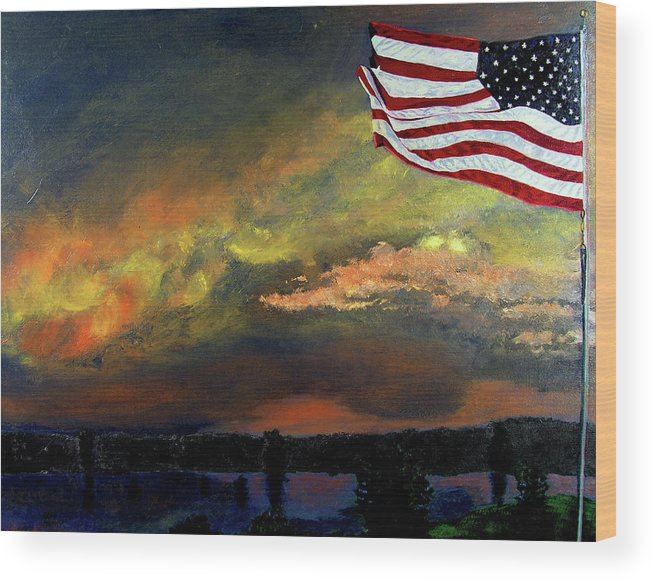 Landscape Wood Print featuring the painting 9-11 by Stan Hamilton