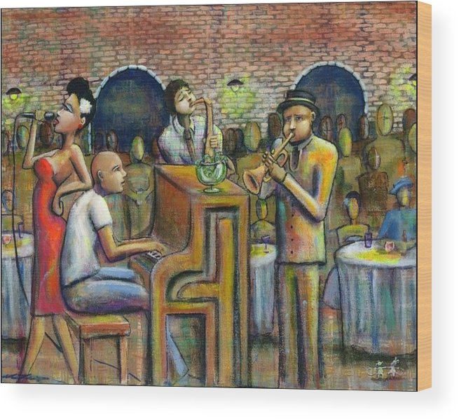 Jazz Wood Print featuring the painting A Damn Good Night by Nelson Perez