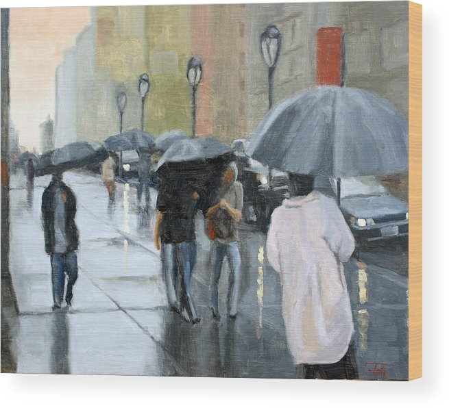 Cityscape Wood Print featuring the painting A day for umbrellas by Tate Hamilton