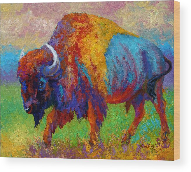 Wildlife Wood Print featuring the painting A Journey Still Unknown - Bison by Marion Rose