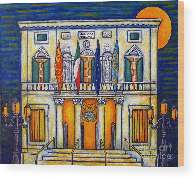 Theatre Wood Print featuring the painting A Night at the Fenice by Lisa Lorenz