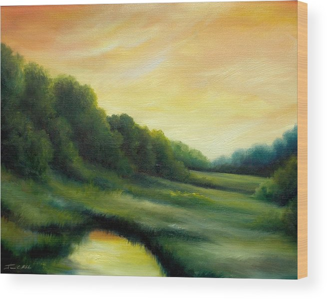 Clouds Wood Print featuring the painting A Spring Evening Part Two by James Christopher Hill
