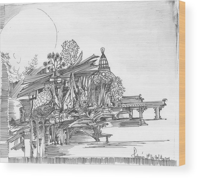 Landscape Wood Print featuring the drawing A temple a building and some trees by Padamvir Singh